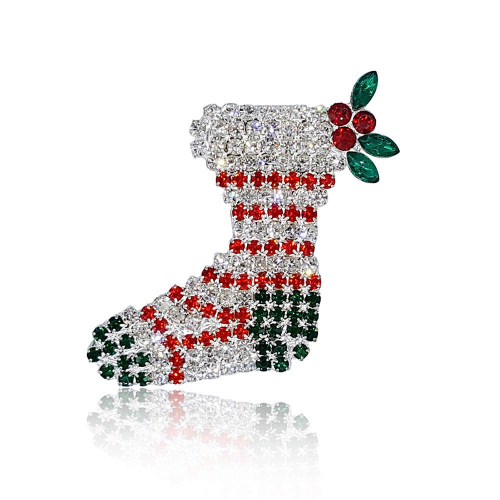 Christmas Gift Rhinestone Christmas Stocking Brooch Pins Jewelry for Festival Wholesale 6PCS/LOT FREE SHIPPING