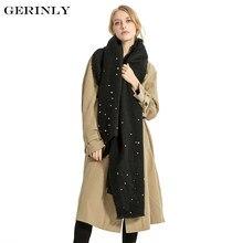 GERINLY Cachemire Écharpe Femmes de Mode Perles Couverture Foulards  Conception de Couleur Unie Longue Pashmina Hiver Chaud Châle. 7158ff82e21