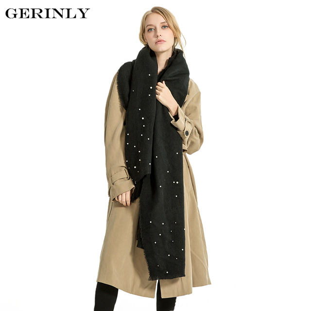 e26d5b59c7be5 GERINLY Cashmere Scarf Women's Fashion Pearls Blanket Scarves Solid Color  Design Long Pashmina Winter Warm Shawl Tassel Foulard