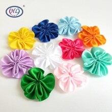 HL 10pcs/lot 35MM Handmade Ribbon Flowers Wedding Decorative For Garment Headwear DIY Appliques