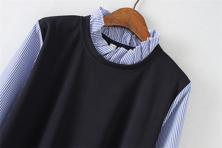 Плюс Размеры Для женщин темно-синий false Платье 2 в 1 2018 Весна женский в полоску плиссированные платья Vestido Robe Костюмы 4XL 5XL