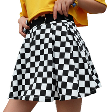 GRNSHTS Pleated Checkerboard Skirts Womens High Waisted Checkered Skirt Harajuku Dancing Korean Style Sweat Short Mini
