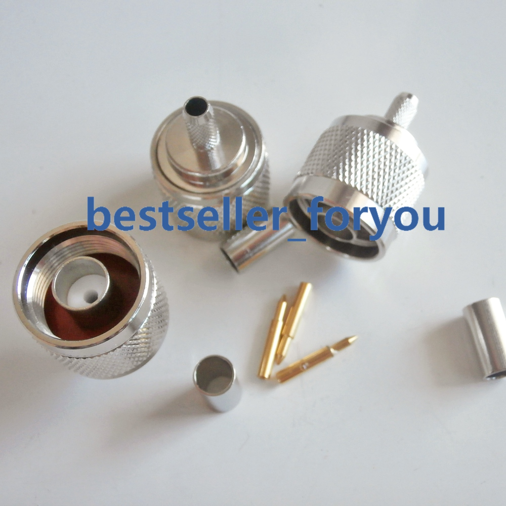 N Type RF Coaxial Connector 50-3 N-Type Male Connector Crimp For RG58 RG142 RG400 LMR195 Cable Free Shipping