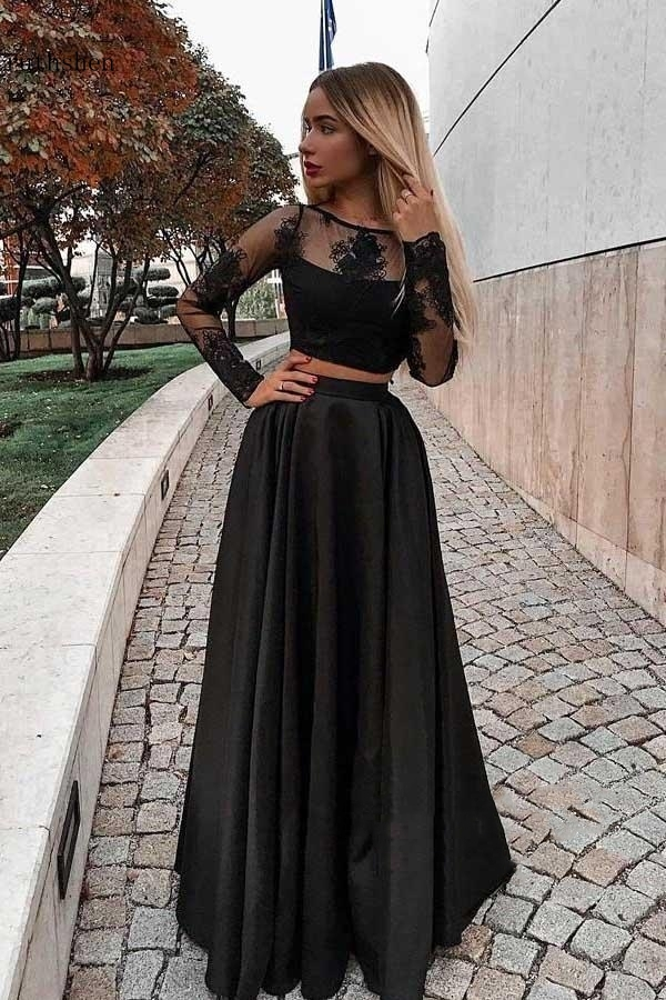 Sexy Black Prom Dress Vestidos De Fiesta Long Sleeve Nigeria Evening Gown A-Line Bestidos De Gala Formal Party Gown Elegant