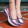 Zapatos de Mujer de La Moda de Primavera Flor de la Impresión de Movimiento de Adelgazamiento Zapatos de Plataforma Plana de Malla Transpirable Zapatos Ocasionales de Las Mujeres Del Amortiguador de Aire ZD19