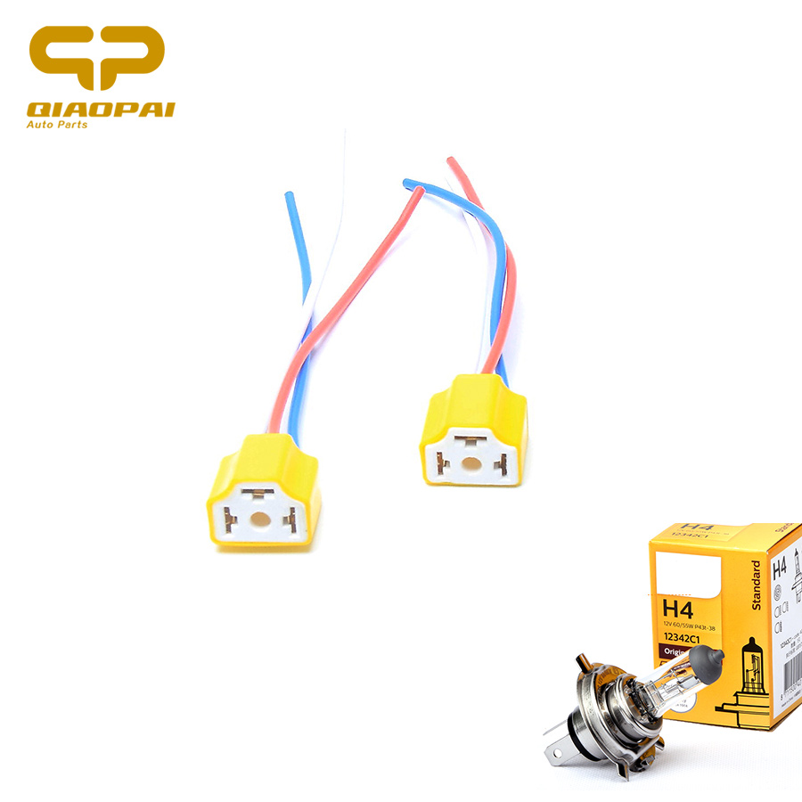 2PCS <font><b>H4</b></font> LED <font><b>Socket</b></font> Headlight Plug Harness Ceramic <font><b>Lamp</b></font> <font><b>Socket</b></font> Copper Automotive Wire connector Car <font><b>Lamp</b></font> Base Adaptor Bulb Holder image