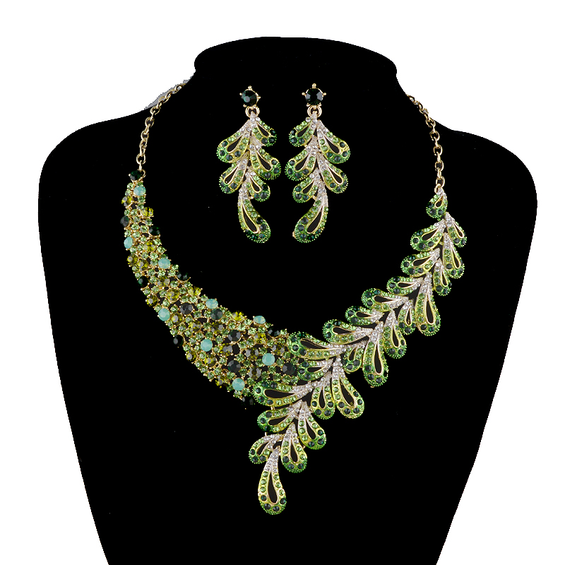 Bridal jewelry sets Leaves Style Czech Crystal rhinestone wedding Party necklace earrings set Women Jewelry Accessories