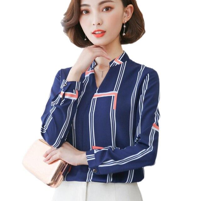 6d14f89553c0a Blue Striped Office Wear 2017 Ladies Tops V-Neck Long Sleeve Chiffon Blouse  Women Tops Chiffon Shirt Female Blusas Femininas