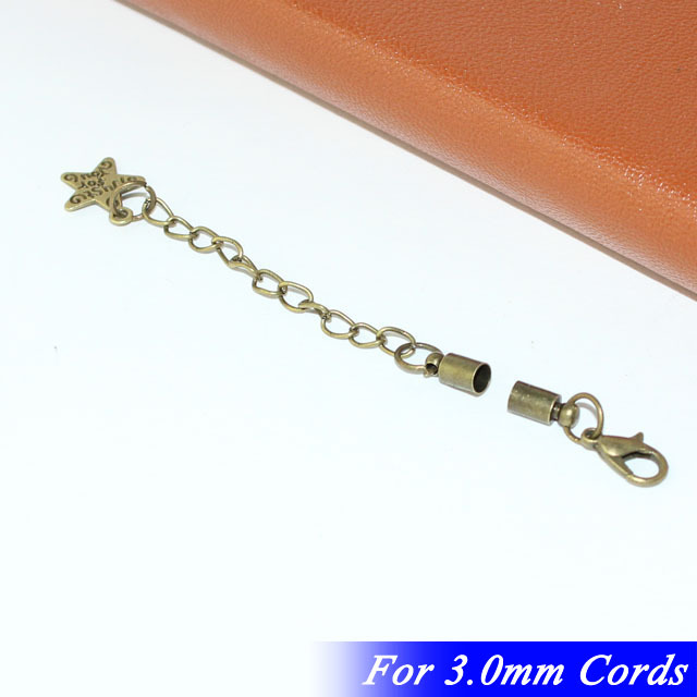For 2/3/4/5mm Leather Cords With Lobster Clasps Extender Chains Alloy Star Drops Antique Bronze Tone Copper Metal Crimp End Caps