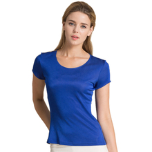 100% Pure Silk Women's T-Shirts Femme Tops Tees Shirt Women Casual Solid Candy Color Female Short Sleeve Fashion Ladies Shirts