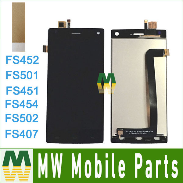 For Fly FS407 FS501 FS451 FS454 FS502 FS452 LCD Display Touch Screen Sensor Digitizer Assembly With Tools & Tape