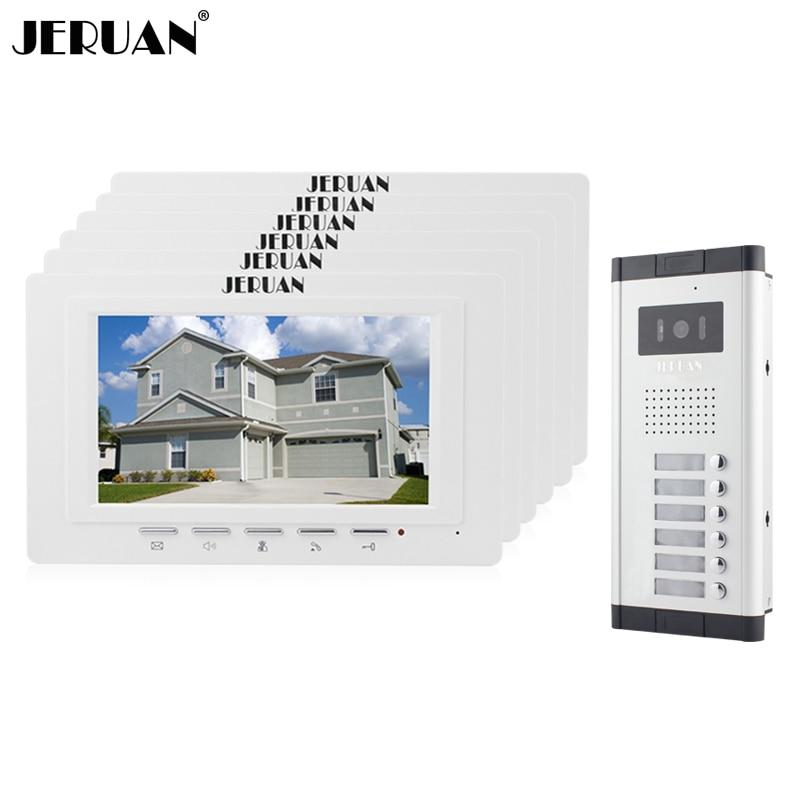 JERUAN Apartment Doorbell intercom 7 inch video intercom door phone system 6 Monitor 700TVL IR Night Vision Camera for 6 house