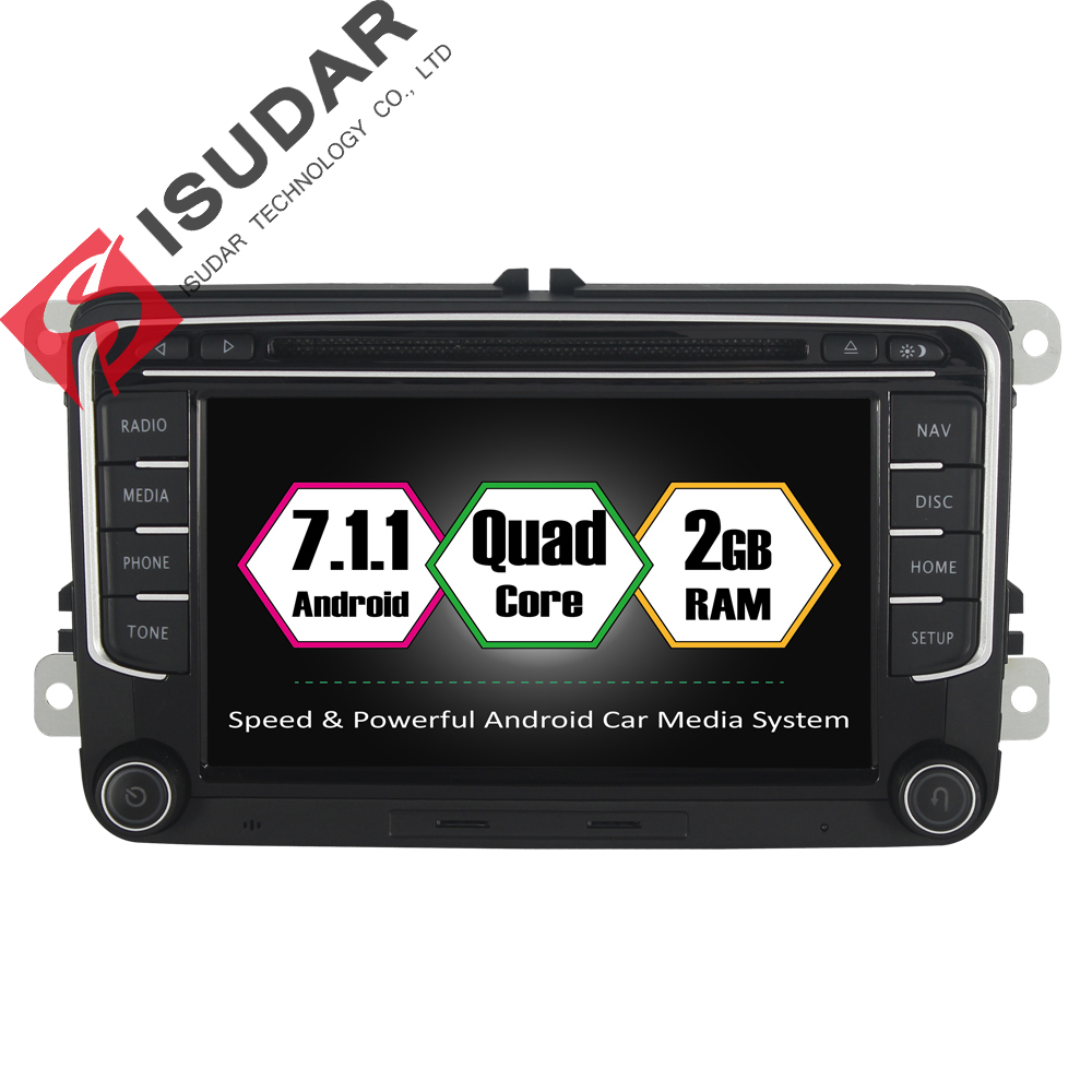 Isudar Car Multimedia Player 2 Din DVD Automotivo For VW/Volkswagen/POLO/PASSAT/Golf/TIGUAN/BORA GPS FM Radio Quad Core RAM 2GB isudar car multimedia player 1 din android 8 1 0 dvd automotivo for vw volkswagen polo passat golf skoda octavia seat gps radio