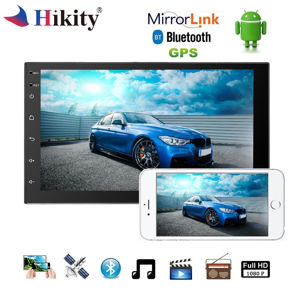 Hikity Android автомобильный мультимедийный плеер Универсальный 7 2 Din радио WI-FI Buletooth Сенсорный экран gps DAB + стерео Зеркало Ссылка авторадио