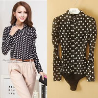 New Hot Sell Ladies Office Long Sleeve Polka Dot Body Conjoined Brand Shirt Women's Fashion Fit Blouse ladies professional shir