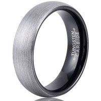 New Arrvial Tungsten Carbide Dome Band Rings 6mm Width IP Black Plated Inside Brushed Finished For