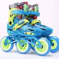 Crianças premium 3 rodas patins de velocidade inline sapatos tênis infantil 3x100mm 3 rodas skatinig patines s m l eur 28 39 bota| |   -
