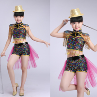 Children Sequined Jazz Dancing Tops+ Pants Girls Ballroom Dance Competition kids Modern Hip Hop Stage Dancing costumes