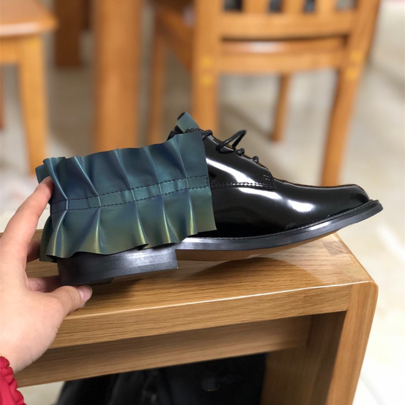 Mujer Oxford Primavera As Caliente Planos Fluorescencia Volantes Las Negro Pic Cuero Zapatos Mujeres De Diseñador F5qxwH