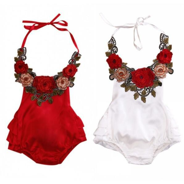 Girls Summer Floral Bodysuits Kids Ruffles Halter Neck Bodysuits Backless Fashion Toddles Clothes Free Shipping