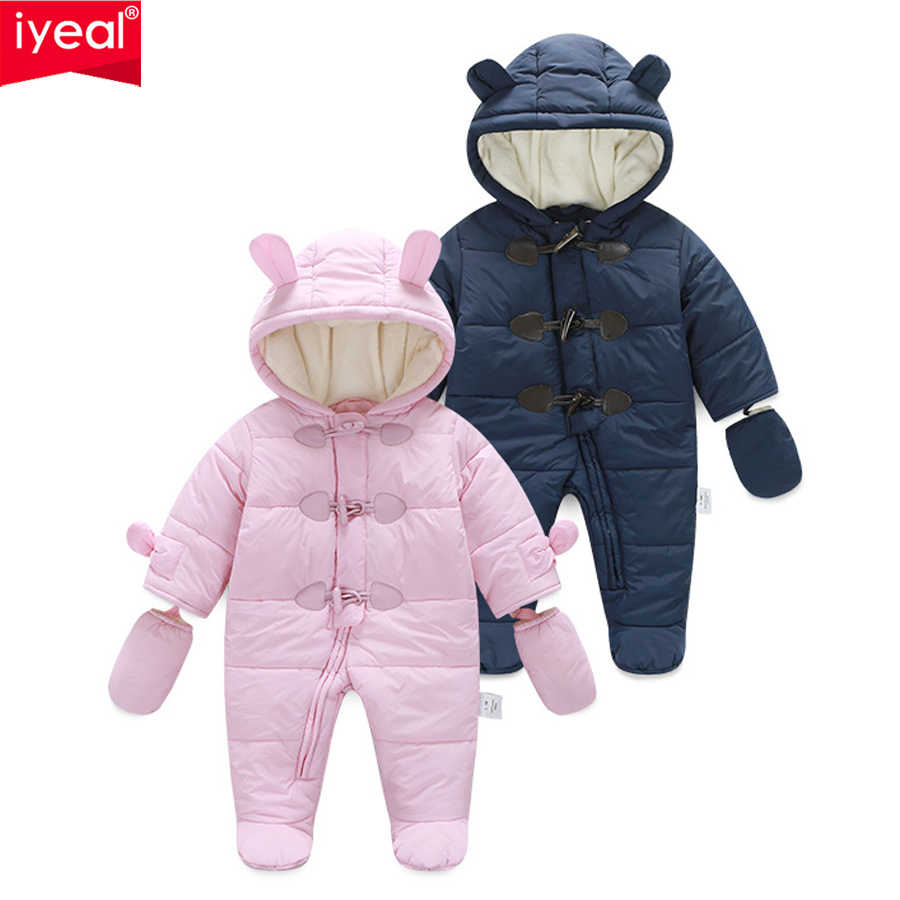 IYEAL Winter Children Baby Clothes Boys Girls Rompers Warm Thickening Hooded Infant Overalls for Newborn Clothing Kid Outerwear
