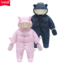 IYEAL Warm Winter Baby Boy Rompers Thickening Hooded Infant Jumpsuit Baby Girl One Piece Romper Newborn Clothes Toddler Clothing недорого