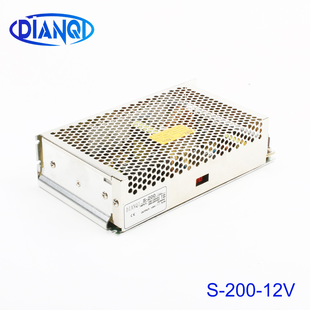 DIANQI power supply 200w 12V 16.5A power suply 12v 200w ac to dc power supply unit ac dc converter high quality S-200-12 image