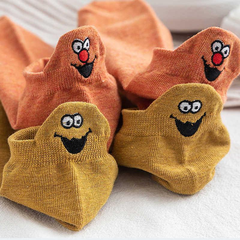 10 זוגות\חבילה קיץ Kawaii Cartoon סמיילי פנים רקמת קרסול גרבי נשים מצחיק ביטוי כותנה גרביים נשי גרביים קצרים