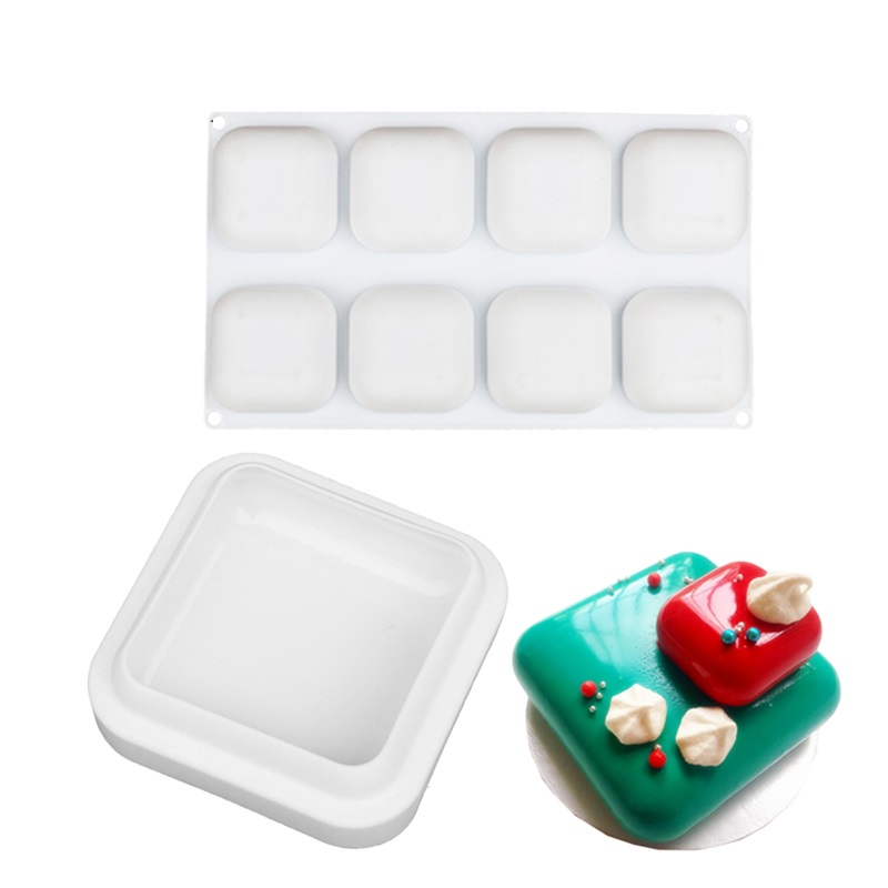 Silicone 8 Cavity Square Shape Cake Mold For Baking Dessert Ice Creams Mousse Cakes Chocolate Brownie Mousse Make Dessert Pan in Cake Molds from Home Garden