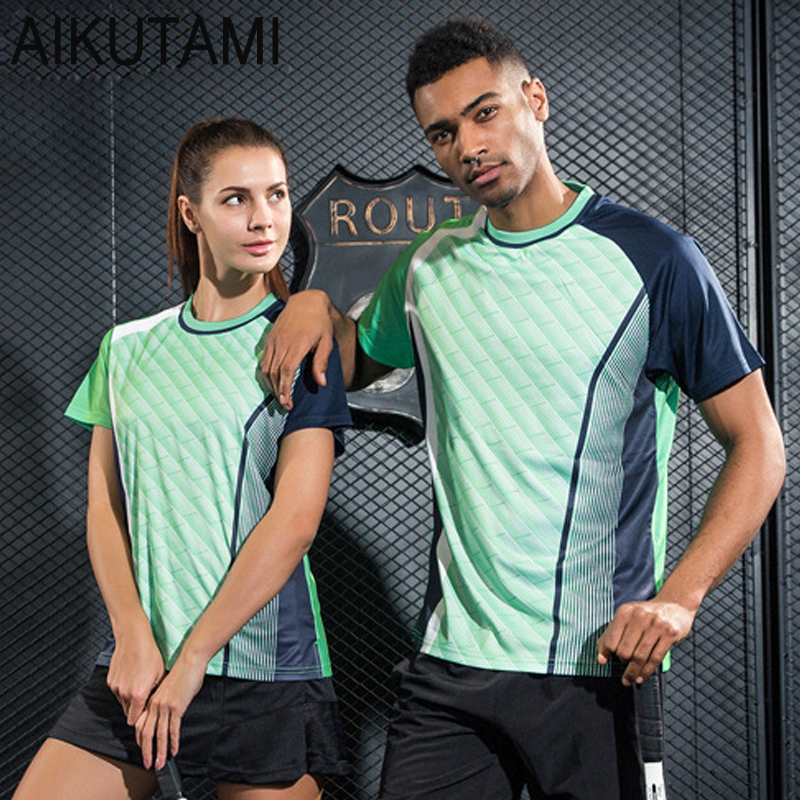 Table Tennis Clothes Badminton Shirt Quick Dry Breathable Printed Sport Shirts for Men and Women Tennis T Shirt for Training(China)