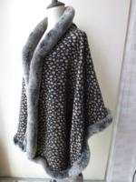 100%Silkworm Silk real Rex Rabbit leopard print cape/coat wraps Soft warm brown