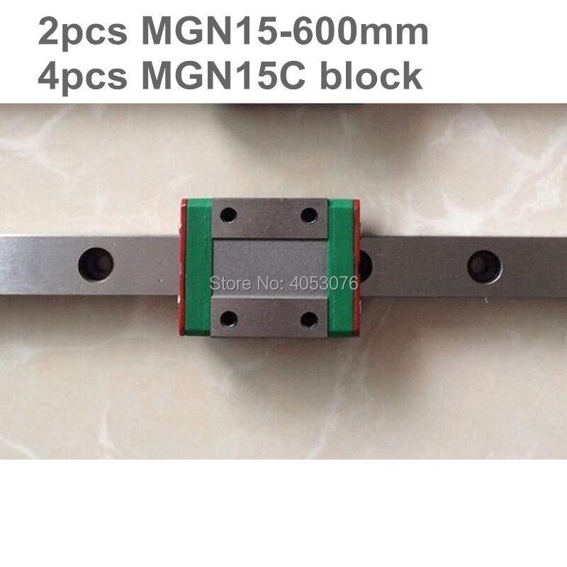 Guidage linéaire MGN15 miniature rail linéaire diapositive 2 pièces MGN15-600mm rail linéaire guide + 4 pièces MGN15C transport pour CNC pièces