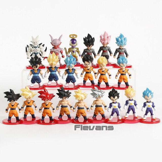 Dragon Ball Z Super Saiyan Son Goku  Gohan Vegeta Vegetto Syn Shenron Freeza Janemba Mini PVC Figures Toys 21pcs/set