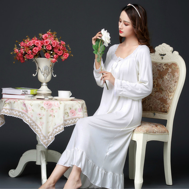 Spring Modal Long Sleeve Loose Long Nightgown Korean Sleeping Dress Pink White Princess Plus Size Women Sexy Sleepwear Nightwear