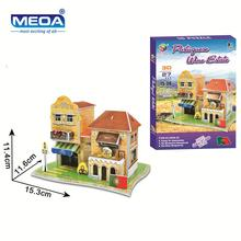 Cardboard 3D Puzzle Toy 27Pcs Portugal Hotel Model European Architecture Assembly  Kits Educational Toy For Christmas Gift andrei smirnov tenga 3d toy asanarchitecture model