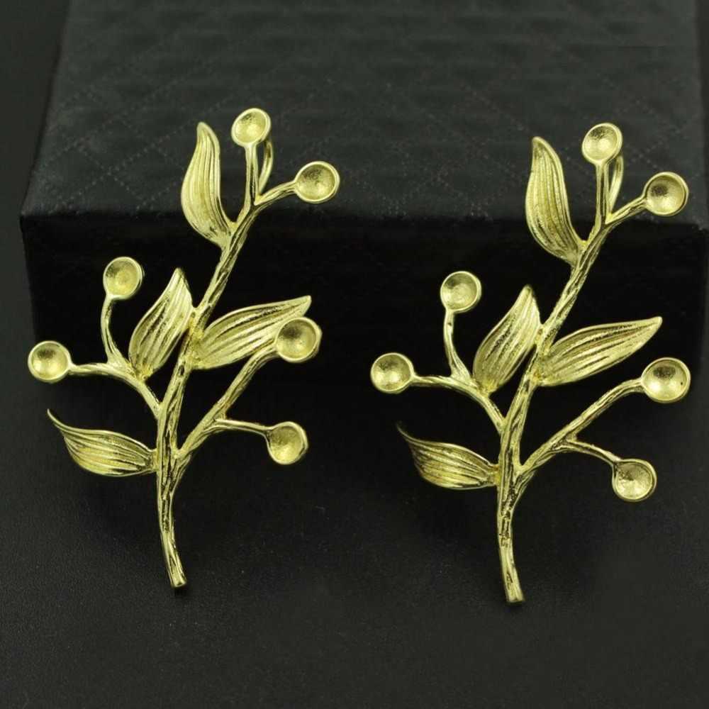 Vintage Branch Leaf Charms tree Brass Metal Die Casting Pendants Stone  Pearl Cabochons Base Findings DIY Jewelry Making