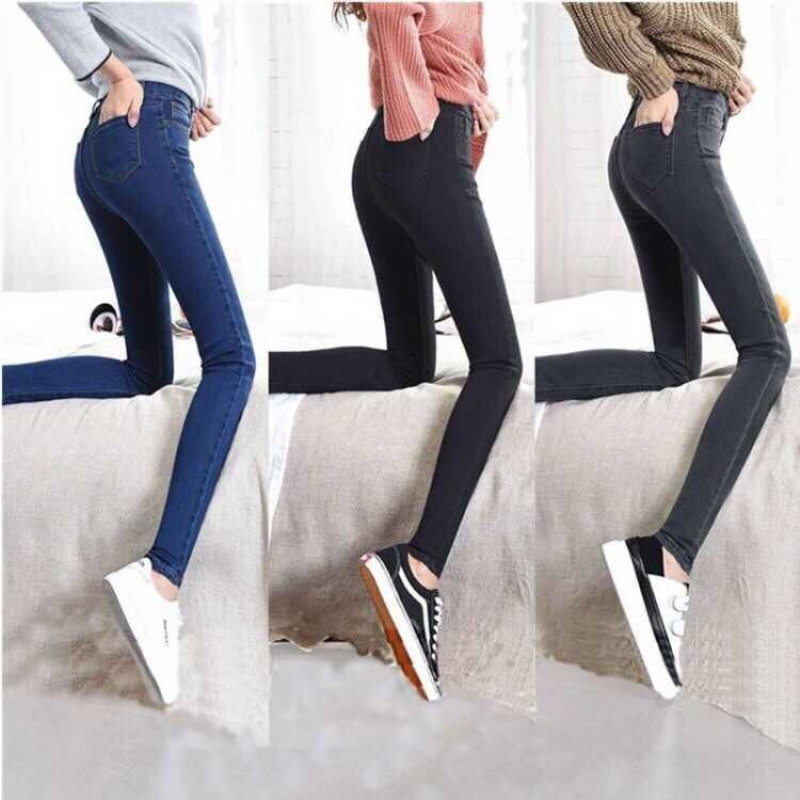 Jeans For Women Stretch Black Woman Cotton Skinny Pencil Jeans Pants With High Waist Elastic Female Denim Blue Ladies Jeans