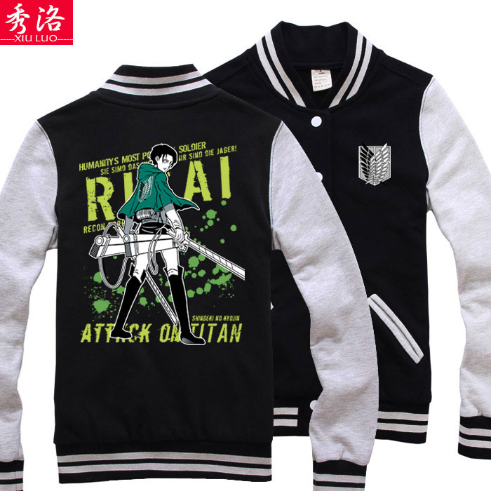 Attack on Titan cosplay Costume sweatshirt long baseball uniform giant hoodie jacket coat