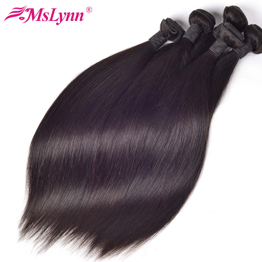 Mslynn Hair Malaysian Straight Hair Bundles Human Hair Bundles Deal kan købe 1/3 Bundles Non Remy Hair Extensions Natural Color