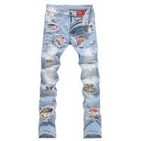 Men Jeans Stretch Destroyed Ripped Design Fashion Badge Patchwork Skinny Jeans For Men Slim Fit Biker