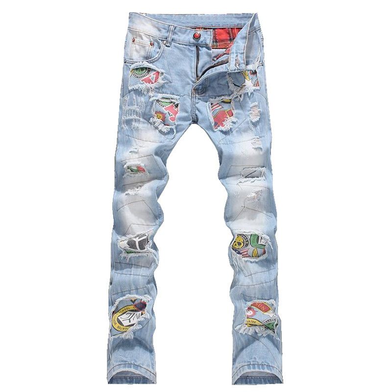 Men Jeans Stretch Destroyed Ripped Design Fashion Badge Patchwork Skinny Jeans For Men Slim Fit Biker Holes Cotton Pants hot 2017 blue ripped jeans men with holes cowboy super skinny famous designer brand slim fit destroyed torn jean pants for male