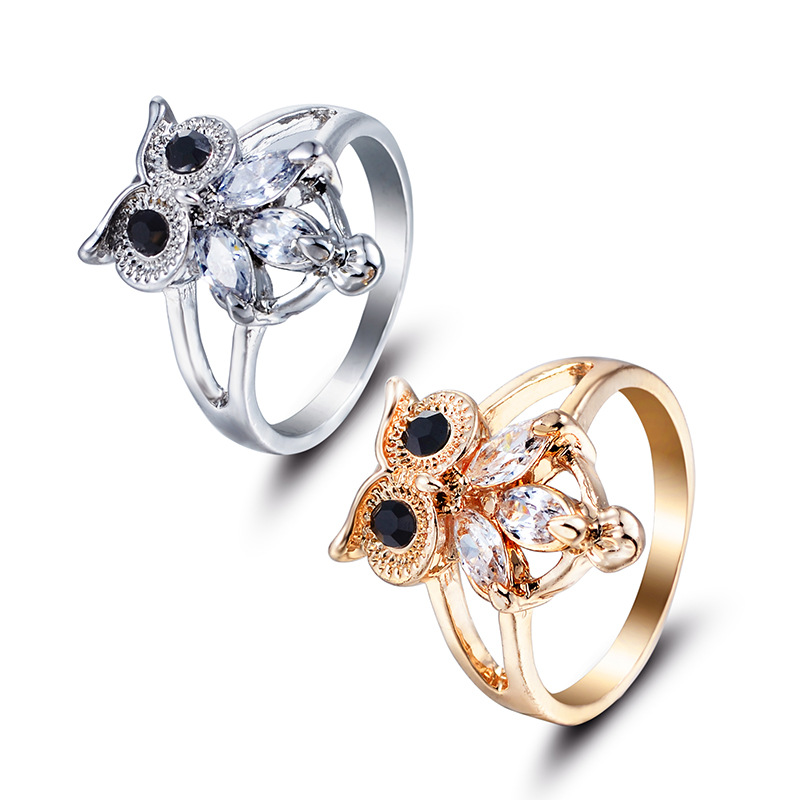 H:HYDE Femmes Bijouterie Gold/Silver Color Anillos Bague Cute Chic Owl Shape CZ Zircon Rings Women Size 6 7 8 9 Ladies Jewelry