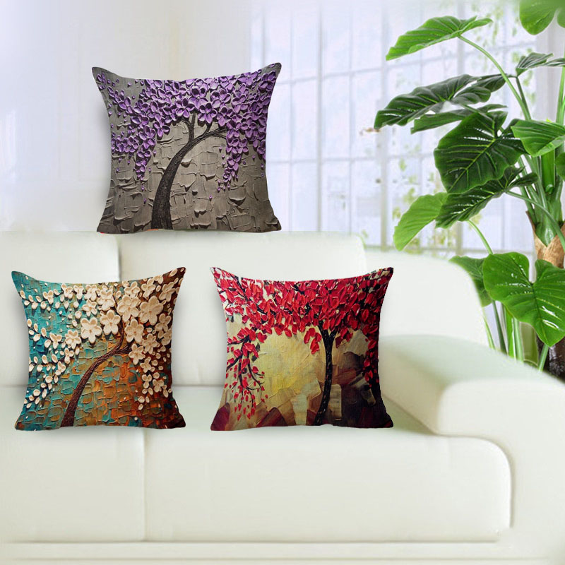 New Beautiful 3D Flower Trees Cotton Linen Cushion Covers Cushions For Sofas  Coffee Shop Office Car Home Decorative Pillowcases