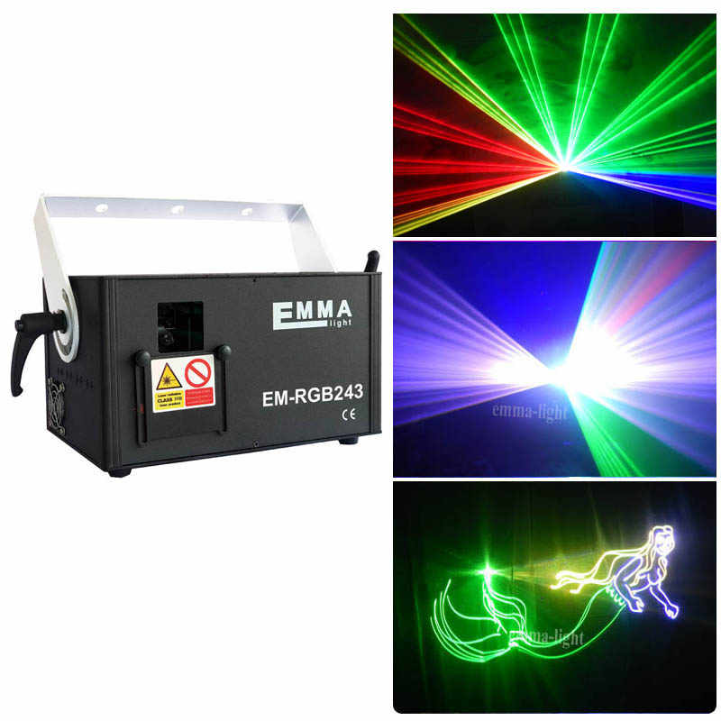 2 W RGB DMX Penuh Warna Laser 2 Watt Auto Sound Program DJ Stage Effect 2000 MW