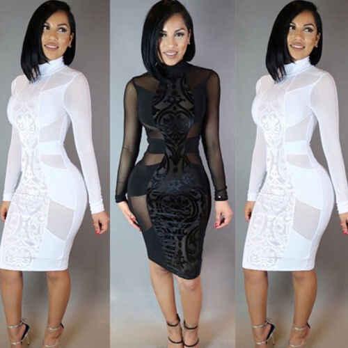 مثير النساء منظور خليط قصيرة اللباس ضمادة Bodycon عارضة كم طويل كوكتيل البسيطة اللباس