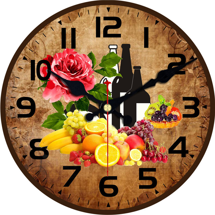 Shabby Chic,Kitchen Wall Clocks,Fruit And Wine Wall Clock,Wall Watches Home Decor,Wall Clock Vintage