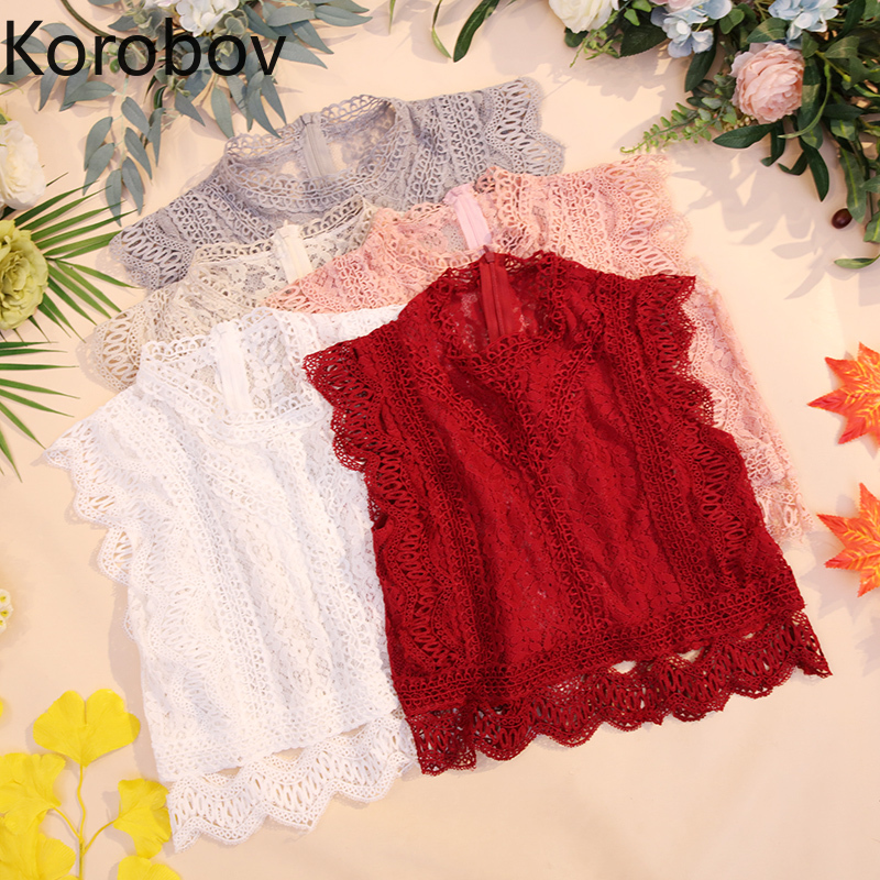 Korobov Korean Lace Hollow Out Zipper Fly Sleeveless   Tank     Top   Elegant Lace Crop   Top   Women 2019 Summer New Arrival Camis 77791