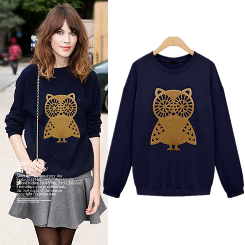 M-XXL Plus Size High Quality Casual Cute Owl Animal Print Hoodies Pullover Girls Fashion Women's Sweatshirt Top Free Shipping