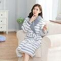 Novo Inverno Sleepwear Fêmea Espessamento de Algodão acolchoado-Algodão de Malha Plus Size Vestes Pijama Mujer das Mulheres Roupões salão Robe