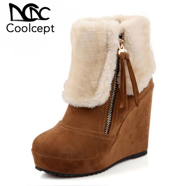 b357c9599da0 CooLcept Free shipping ankle half short wedge boots women snow fashion  winter warm boot footwear shoes P10518 EUR size 33-40